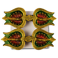 Trishul Design Earthen Diya - Set of 4