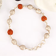 Rudraksha and Parad Bracelet in silver knot - 10 to 13mm