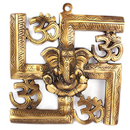 Swastik Om Ganesha - Brass