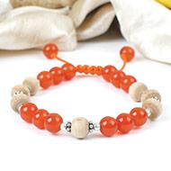Orange Carnelian with Tulsi Bracelet