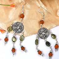 Cats Eye and Rudraksha Earring
