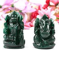 Ganesh Laxmi Pair in Natural Green Jade-III