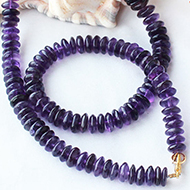 Amethyst mala - Button shaped beads