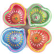 Decorative Earthen lamps - Set of 4 - Design X