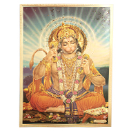 Lord Shri Hanuman Photo in Golden Sheet - Large