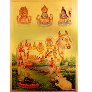 Trimurti with Gomatha Photo in Golden Sheet - Large