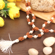 2 mukhi with Pearl mala