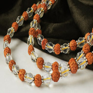 Sphatik diamond cut and Rudraksha mala in thread with silver flowers