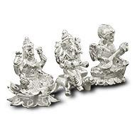 Ganesh Lakshmi Saraswati in pure silver - Design I