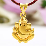 Ganesh Pendant in Gold - Design III
