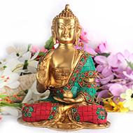 Buddha Staue with Stone Decoration - IV
