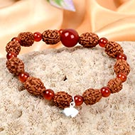 3 mukhi Mahajwala bracelet from Java with Carnelian beads