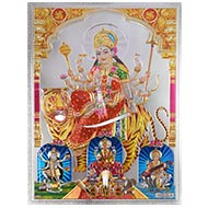Unconquerable Durga Photo in Golden Sheet - Large