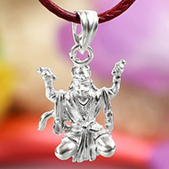 Hanuman locket in pure silver - Design IX