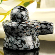 Snowflakes Obsidian Shivling - 55 gms
