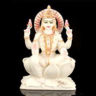 Goddess Mahalaxmi in white marble idol
