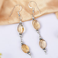 Yellow Topaz Oval bead Earring