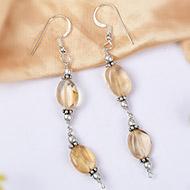 Yellow Topaz Oval bead Earring