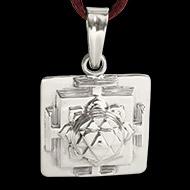 Durga Yantra Locket in Silver - 3D
