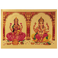 Lakshmi Ganesh Photo in Golden Sheet - Large I