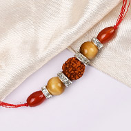 4 Mukhi Rakhi Carnelian and Cats eye Beads with German silver accessories