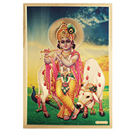 Lord Krishna Photo in Golden Sheet - Large
