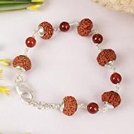 9 mukhi with Gomed bracelet in silver