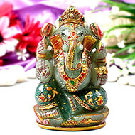 Exotic Ganesh Idol in Green Jade-472 gms