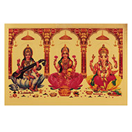 Ganesh Lakshmi Saraswati Photo in Golden Sheet - Large IV