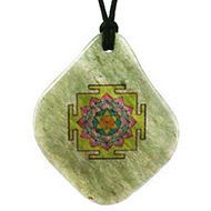 Vishnu Yantra Pendant on Green Jade