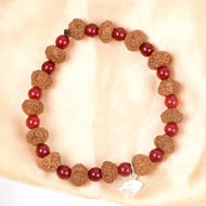 8 mukhi Ganesha bracelet from Java with Red Agate beads