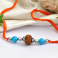 8 mukhi Rakhi Turquoise beads with pure silver accessories in thread