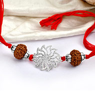 8 mukhi Rakhi with pure silver accessories in thread