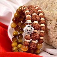8 Mukhi Rudraksha and Black Cats Eye Bracelet - I (Root)