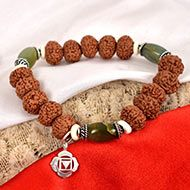 8 Mukhi Rudraksha and Cats Eye Bracelet - I (Root)
