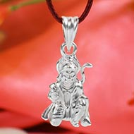 Hanuman locket in pure silver - Design VII