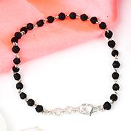 Black Tulsi beads bracelet in silver