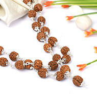 Rudraksha Mala 9mm - Chikna Beads with Silver caps