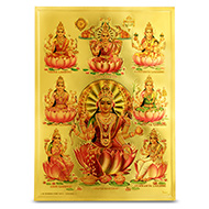Goddess Ashta Lakshmi Photo in Golden Sheet - Large