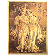 Radhe Krishna with Peacock Feather Photo in Golden Sheet - Large