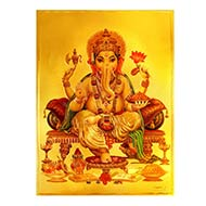Ganesh Photo in Golden Sheet - Large