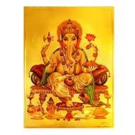 Ganesh Photo in Golden Sheet - Large