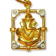 Ganesh Pendant in Gold - Design V