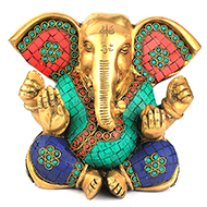 Elephant ear Ganesha with Stone Work