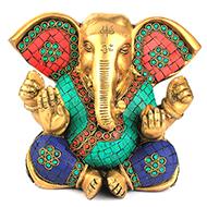 Elephant ear Ganesha with Stone Work