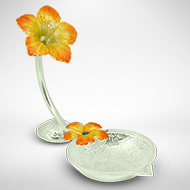 Flower diya in pure silver