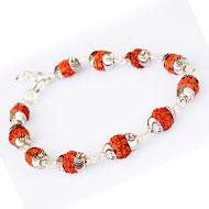 7 mukhi bracelet in Designer silver caps