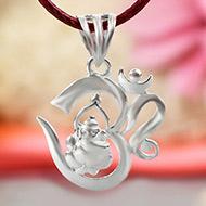 OM Ganesh Locket in pure silver - Design I