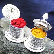 Haldi Kumkum containers in silver