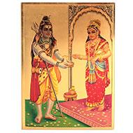 Goddess Annapurna with Shiva Photo in Golden Sheet - Large